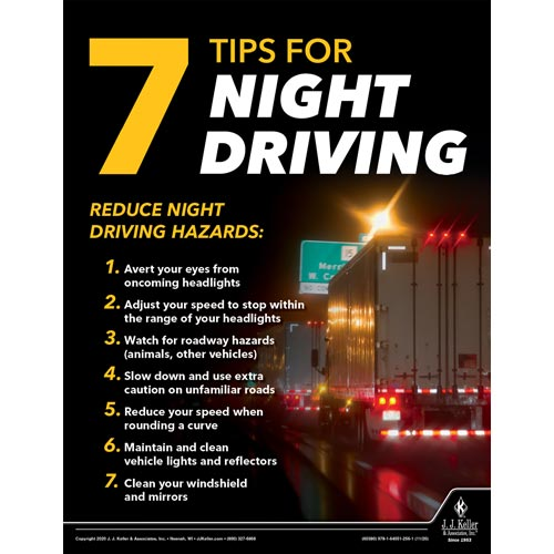 Seven Tips for Night Driving - Transport Safety Risk Poster (017040)