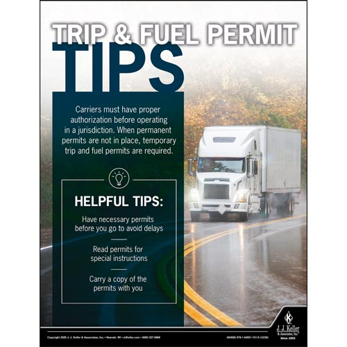 Trip & Fuel Permit Tips - Motor Carrier Safety Poster (017044)