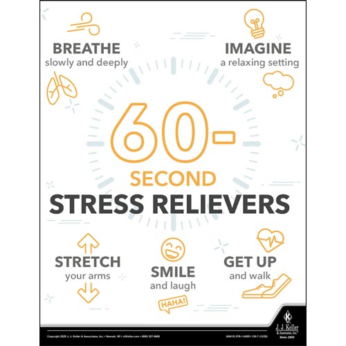 60-Second Stress Relievers - Health & Wellness Awareness Poster (017050)