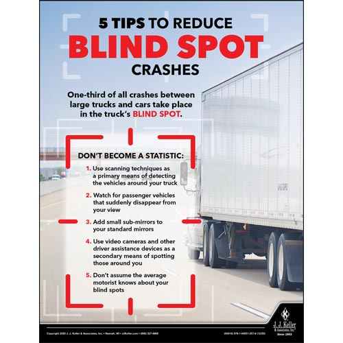 5 Tips to Reduce Blind Spot Crashes -Transport Safety Risk Poster (017051)