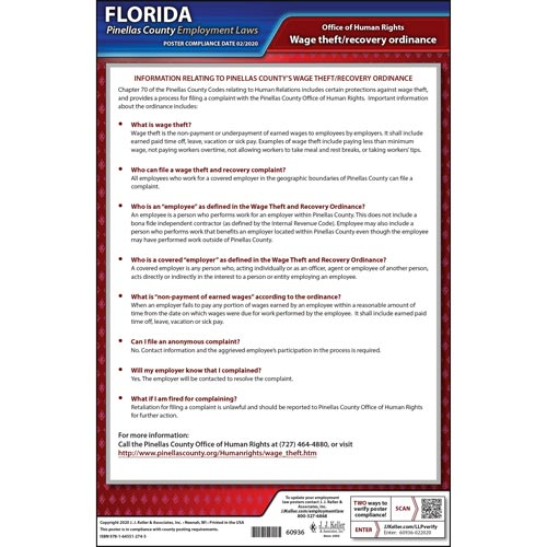 Florida/Pinellas County Wage Theft Ordinance Poster (017184)