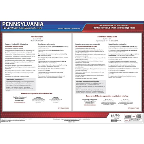 Pennsylvania / Philadelphia Fair Workweek Poster (017271)