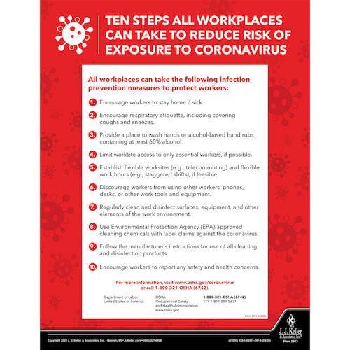 Coronavirus 10-Step Prevention OSHA Poster (017272)