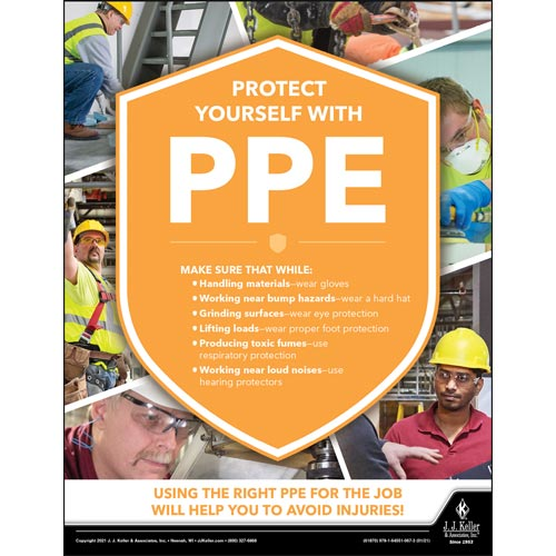 Protect Yourself With PPE - Construction Safety Poster (017609)