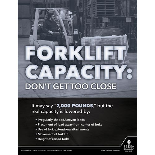 Forklift Capacity Don't Get Too Close - Workplace Safety Training Poster (017597)