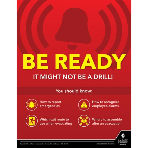 Be Ready It Might Not Be a Drill - Workplace Safety Training Poster (017718)