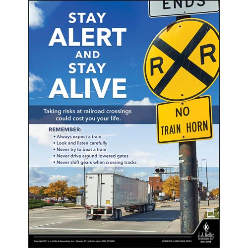 Stay Alert And Stay Alive - Driver Awareness Safety Poster (017623)