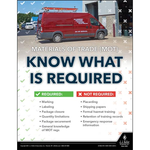 Materials of Trade - Know What is Required - Hazmat Transportation Poster (017647)