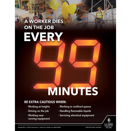 A Worker Dies On The Job Every 99 Minutes - Workplace Safety Training Poster (017599)