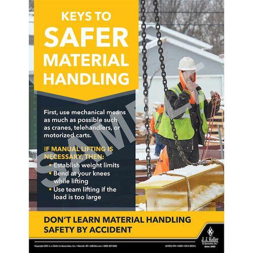Keys to Safer Material Handling - Construction Safety Poster (017611)