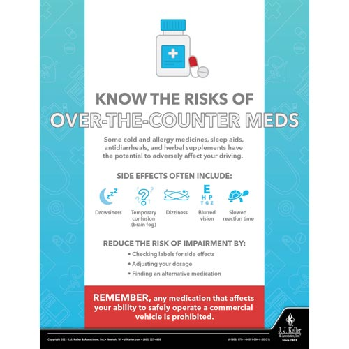 Know The Risk Of Over-The-Counter Meds - Transport Safety Risk Poster (017707)