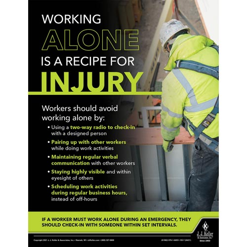 Working Alone Is A Recipe For Injury - Construction Safety Poster (017612)