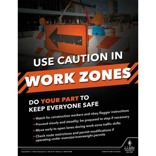 Use Caution In Work Zones - Motor Carrier Safety Poster (017672)