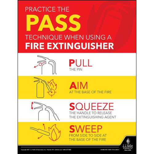 Practice The Pass Technique When Using A Fire Extinguisher - Workplace Safety Training Poster (017720)