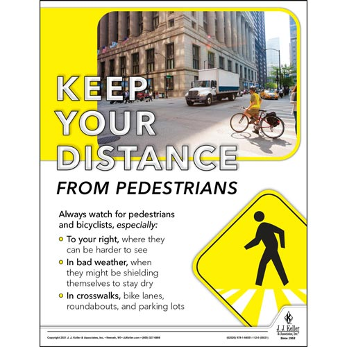 Keep Your Distance From Pedestrians - Driver Awareness Safety Poster (017625)