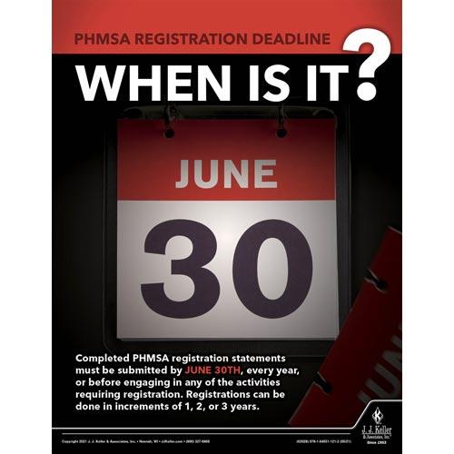 PHMSA Registration Deadline - When Is It - Hazmat Transportation Poster (017649)