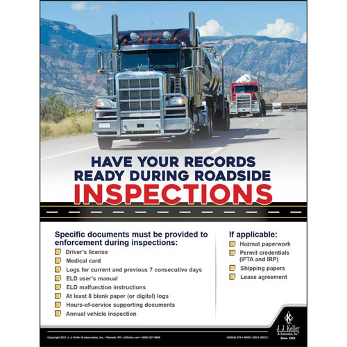 Have Your Records Ready During Roadside Inspections - Transport Safety Risk Poster (017709)