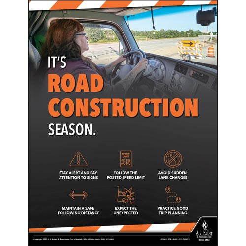 It's Road Construction Season - Driver Awareness Safety Poster (017626)