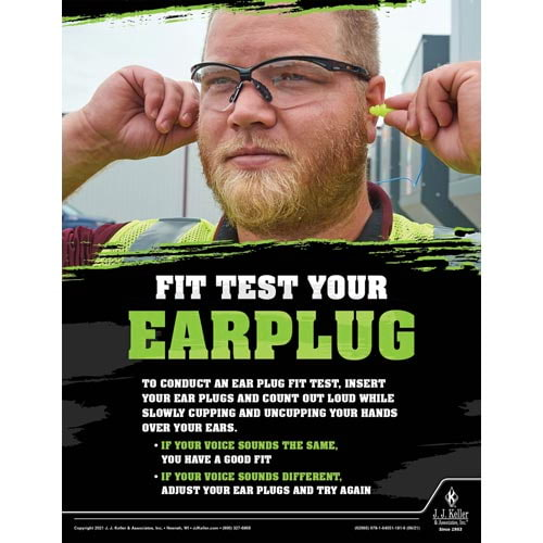 Fit Test Your Ear Plug - Workplace Safety Training Poster (017602)