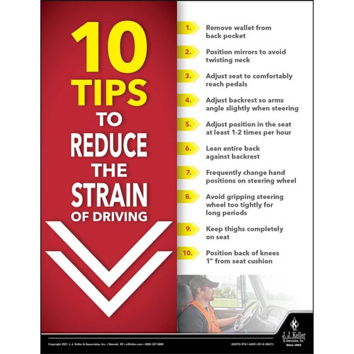 10 Tips To Reduce The Strain Of Driving - Transport Safety Risk Poster (017710)