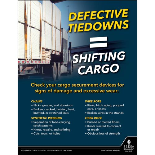 Defective Tiedowns - Shifting Cargo - Transport Safety Risk Poster (017711)