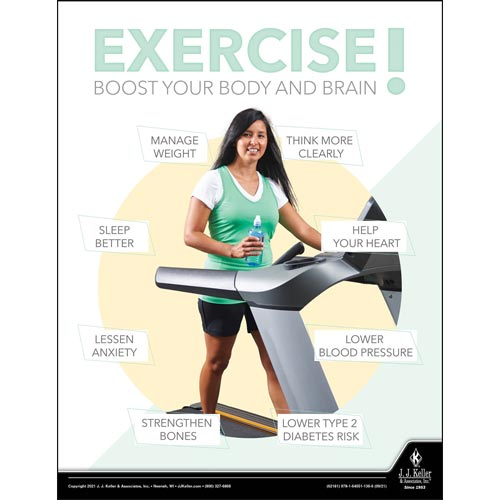 Exercise Boost Your Body And Brain - Health & Wellness Awareness Poster (017689)