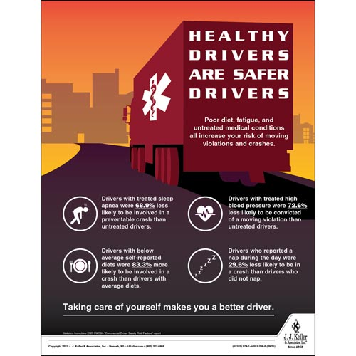 Healthy Drivers Are Safer Drivers - Transportation Safety Poster (017701)