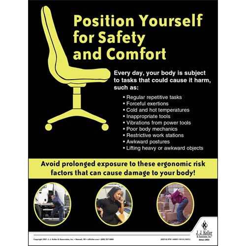 Position Yourself for Safety and Comfort - Construction Safety Poster (017618)