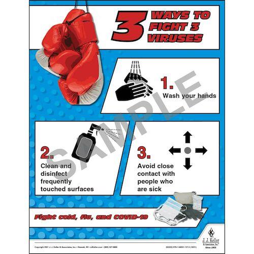 3 Ways To Fight 3 Viruses - Health & Wellness Awareness Poster (017690)