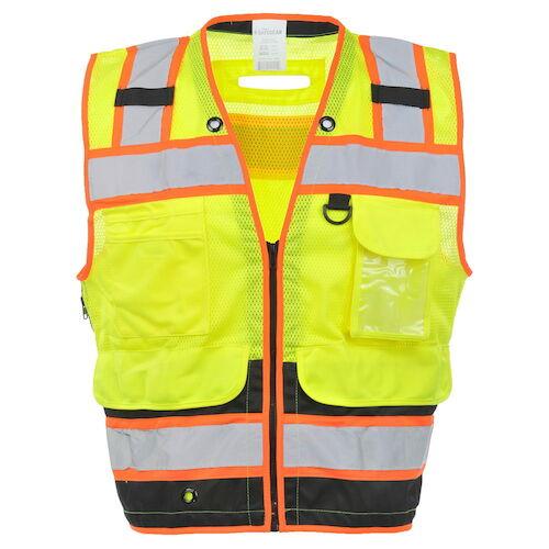 J. J. Keller® SAFEGEAR® Black Bottom Safety Vest Type R Class 2 - Zipper Closure (017801)
