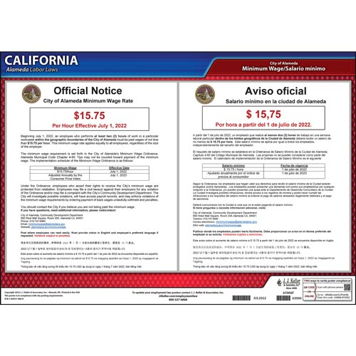 California / Alameda Minimum Wage Poster (015486)