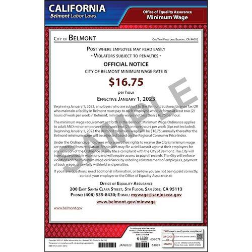 California / Belmont Minimum Wage Poster (014138)