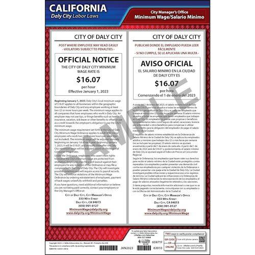 California / Daly City Minimum Wage Poster (015038)