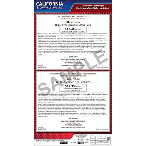 California / El Cerrito Minimum Wage Poster (012502)