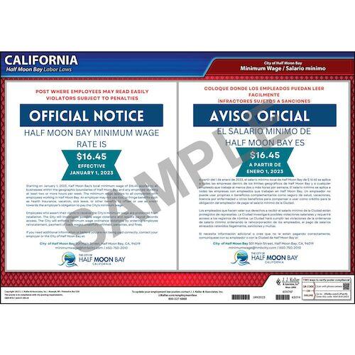 California / Half Moon Bay Minimum Wage Poster (017874)