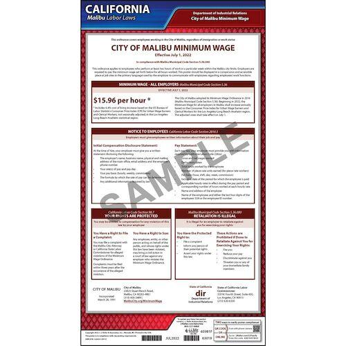 California / Malibu Minimum Wage Poster (016054)