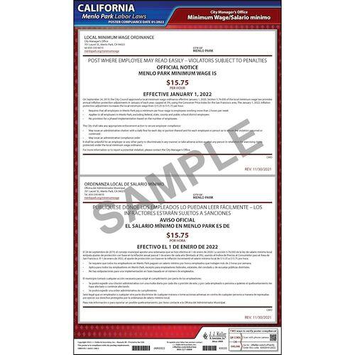 California / Menlo Park Minimum Wage Poster (017036)