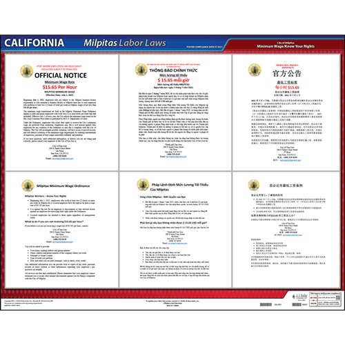 California / Milpitas Minimum Wage Poster (013028)