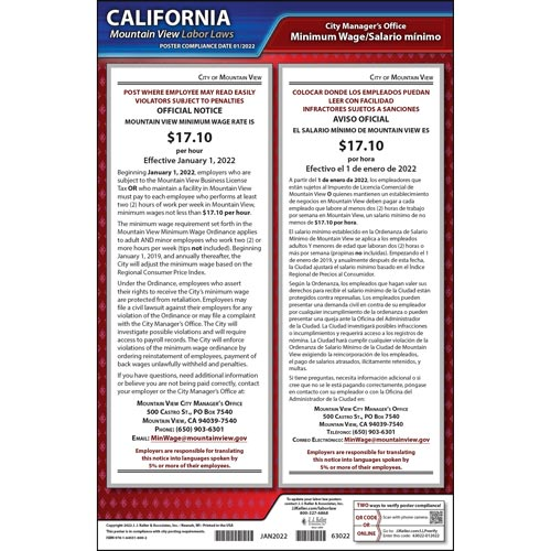 California / Mountain View Minimum Wage Poster (012507)