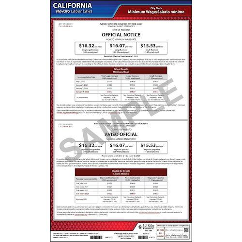 California / Novato Minimum Wage Poster (017061)