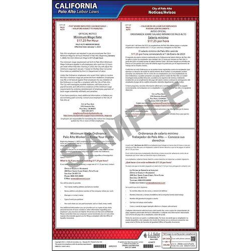 California / Palo Alto Minimum Wage Poster (012508)