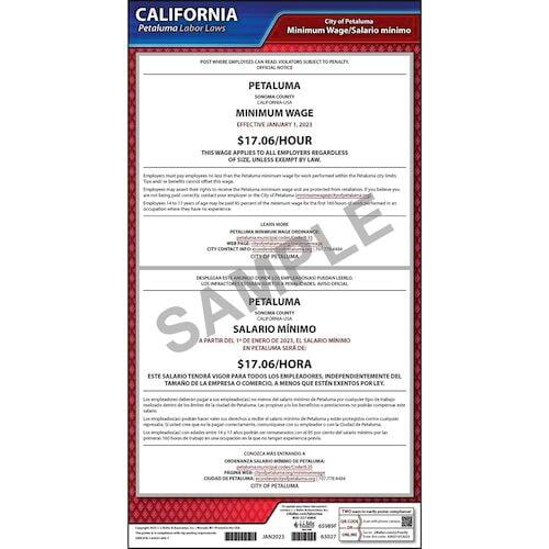 California / Petaluma Minimum Wage Poster (017025)