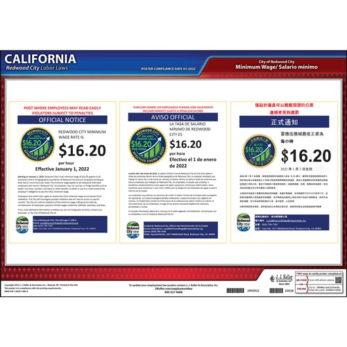 California / Redwood City Minimum Wage Poster (014139)