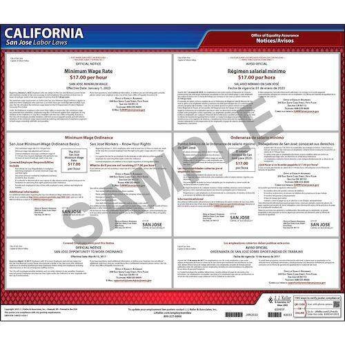 California / San Jose Minimum Wage Poster (07387)
