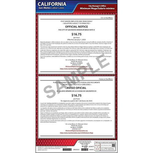 California / San Mateo Minimum Wage Poster (012514)