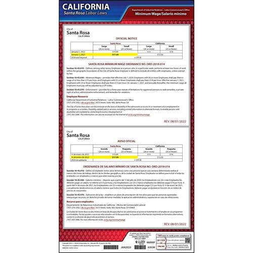 California / Santa Rosa Minimum Wage Poster (017425)
