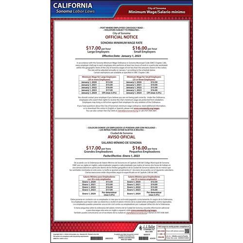 California / Sonoma Minimum Wage Poster (015891)