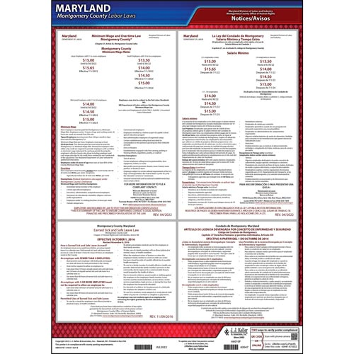 Maryland / Montgomery County Minimum Wage/Paid Sick Leave Poster (09446)