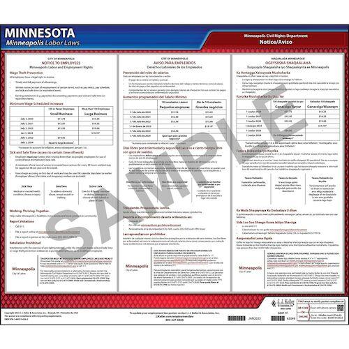 Minnesota / Minneapolis Paid Sick Leave Poster (012524)