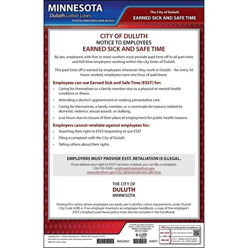 Minnesota / Duluth Earned Sick & Safe Time Act Poster (015892)